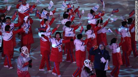 The unified Korean team enter the stadium.