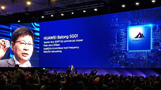 Richard Yu, CEO of Huawei's consumer business group, presents the company's new 5G chipset called Balong 5G01 at Mobile World Congress in Barcelona on Sunday, February 25, 2018.