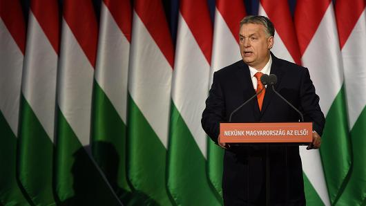 Hungarian Prime Minister and Chairman of FIDESZ party Viktor Orban delivers his state of the nation address in front of his party members and sypathizers at Varkert Bazar cultural center of Budapest on February 18, 2018.
