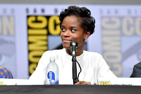 "Actor Letitia Wright who plays 'Shuri' from Marvel Studios' ""Black Panther"" at the San Diego Comic-Con International 2017 Marvel Studios Panel in 2017."