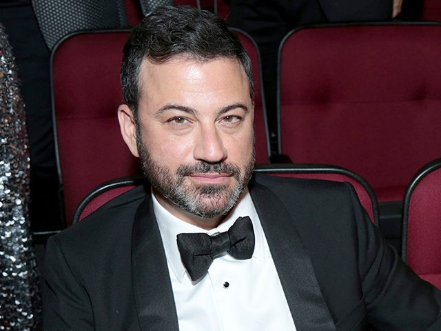 Jimmy Kimmel, left, and Molly McNearney pose in the audience at the 69th Primetime Emmy Awards on Sunday, Sept. 17, 2017, at the Microsoft Theater in Los Angeles. (Photo by Alex Berliner/Invision for the Television Academy/AP Images)
