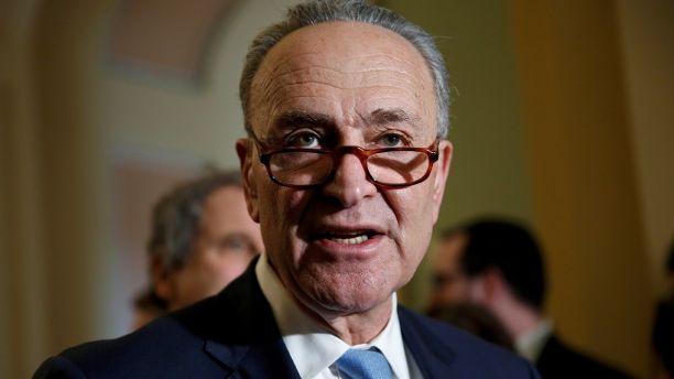 Senate Minority Leader Chuck Schumer (D-NY) speaks to reporters on Capitol Hill in Washington, U.S., January 30, 2018.