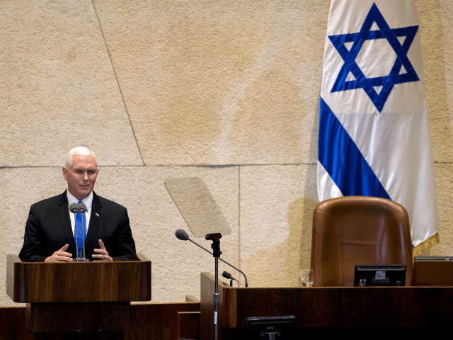 US Vice President Mike Pence addresses the Knesset (Israeli parliament) in Jerusalem on January 22, 2018. The visit, initially scheduled for December before being postponed, is the final leg of a trip that has included talks in Egypt and Jordan as well as a stop at a US military facility near the Syrian border. Controversy back home over a budget dispute that has led to a US government shutdown has trailed Pence, and he sought to blame Democrats for the impasse during a speech to troops at the military facility a day earlier. / AFP PHOTO / POOL / Ariel Schalit (Photo credit should read ARIEL SCHALIT/AFP/Getty Images)