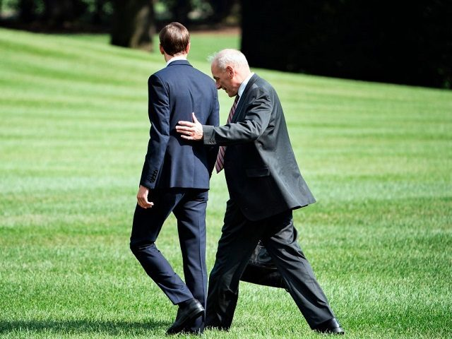 Senior Advisor Jared Kushner (L) and newly appointed White House Chief of Staff John Kelly follow US President Donald Trump to Marine One on the South Lawn of the White House August 3, 2017 in Washington, DC. Special counsel Robert Mueller has impaneled a grand jury to investigate Russia's interference with the 2016 presidential election, The Wall Street Journal reported on August 3 -- an important step toward potential criminal charges. / AFP PHOTO / Brendan Smialowski (Photo credit should read BRENDAN SMIALOWSKI/AFP/Getty Images)