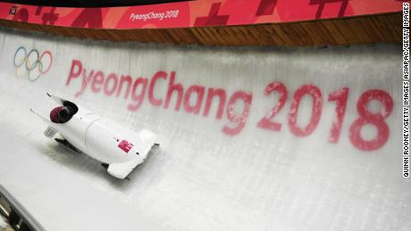 Russian bobsled duo Nadezhda Sergeeva and Anastasia Kocherzhova compete at PyeongChang 2018.