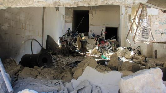 A picture taken on April 4, 2017 shows destruction at a hospital in Khan Sheikhun, a rebel-held town in the northwestern Syrian Idlib province, following a suspected toxic gas attack.
