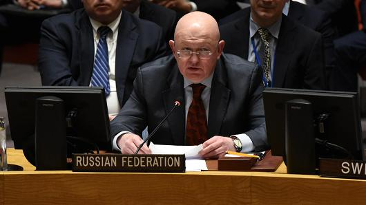 Russian Ambassador to the United Nations Vassily Nebenzia addresses the assembly during a UN Security Council meeting February 22, 2018 on the violence engulfing the Syrian rebel-held enclave of Eastern Ghouta.