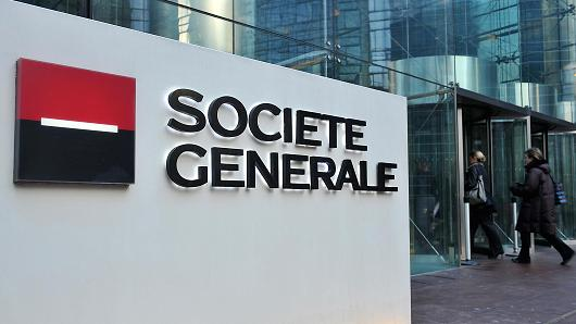 Societe Generale SA headquarters stand in Paris, France