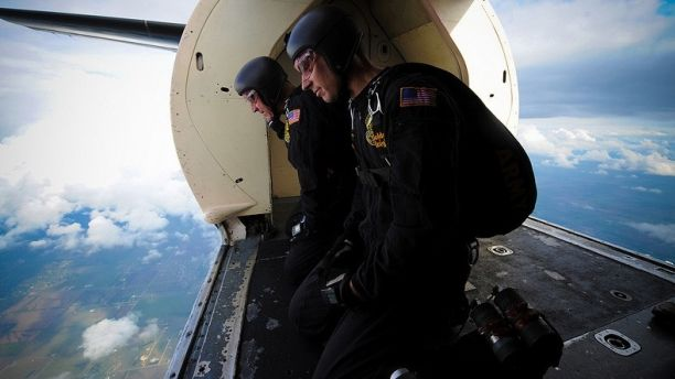 Oct. 21, 2012: U.S. Army Sgts. 1st Class J.D. Berentis, left, and Dustin Peregrin, both assigned to the Golden Knights Parachute Team, monitor wind speeds.