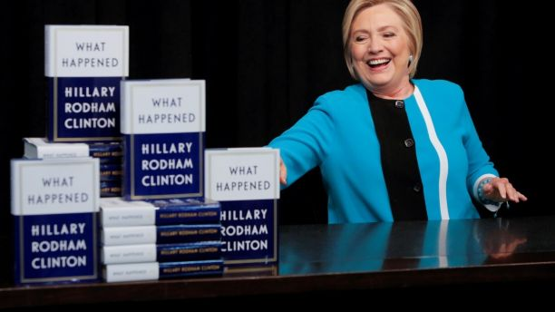 Former Secretary of State Hillary Clinton attends a signing of her new book 'What happened' at Barnes & Noble bookstore at Union Square in Manhattan, New York City, U.S., September 12, 2017.  REUTERS/Andrew Kelly - RC121E6CA5A0