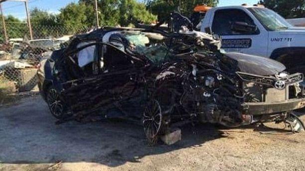 crushed car san marcos police dept