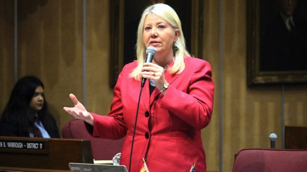 FILE - In this April 6, 2017 file photo, Arizona state Sen. Debbie Lesko speaks in the Senate chambers in Phoenix. Two former Republican Arizona lawmakers who are leading candidates to fill a vacant U.S. House seat are embroiled in controversy as Tuesday's special primary election looms. Former state Sen. Debbie Lesko is under fire for transferring $50,000 from her old state Senate campaign fund to an independent group backing her congressional election bid. Former state Sen. Steve Montenegro reportedly received racy text messages from a Senate staffer who isn't his wife. (AP Photo/Bob Christie, File)