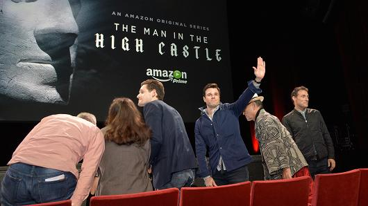 Executive producers Isa Dick Hackett, David W. Zucker, actors Alexa Davalos, Luke Kleintank, Rupert Evans, Cary-Hiroyuki Tagawa and Rufus Sewell attend Amazon Original Series 'The Man In The High Castle' Special Screening Event And Q&A on July 10, 2015 in San Diego, California.