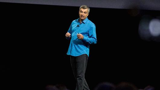 Eddy Cue, Apple senior vice president of internet software and services, at an Apple event at the Worldwide Developer's Conference on June 13, 2016 in San Francisco, California.