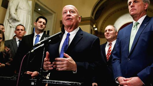 Chairman of the House Ways and Means Committee Kevin Brady (R-TX) speaks after the House of Representatives passed tax reform legislation on Capitol Hill in Washington, December 19, 2017.