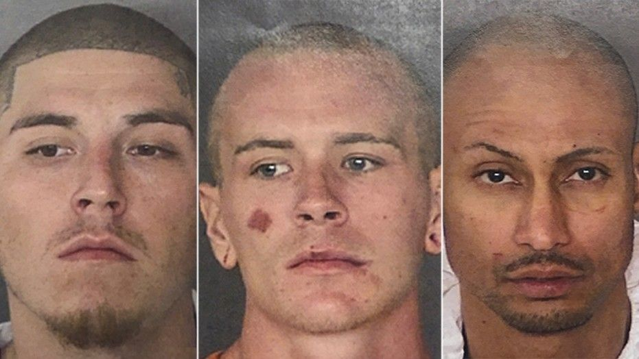 Murder suspects Eric Trevino, Jacob Anthony Brownson, and Luis Antonio Arroyo escaped from the Bexar County jail in San Antonio by apparently crawling through a window Friday. All three have been recaptured. San Antonio police say the three men were caught around midday Friday, less than two hours after they turned up missing from the Bexar County Adult Detention Center. (Bexar County Sheriff's Office via AP)