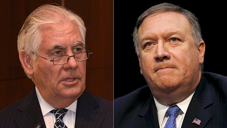 President Trump on Tuesday ousted Rex Tillerson (left) as secretary of state and said he is replacing him with CIA Director Mike Pompeo (right).